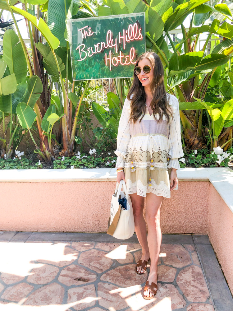 tassel coverup dress hermes sandals beverly hills hotel