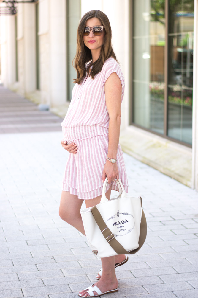 pink striped dress white tote bag