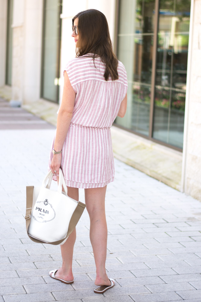 pink striped dress prada tote bag