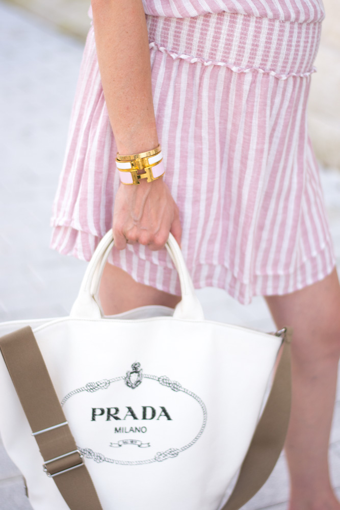 prada canvas tote bag pink striped dress