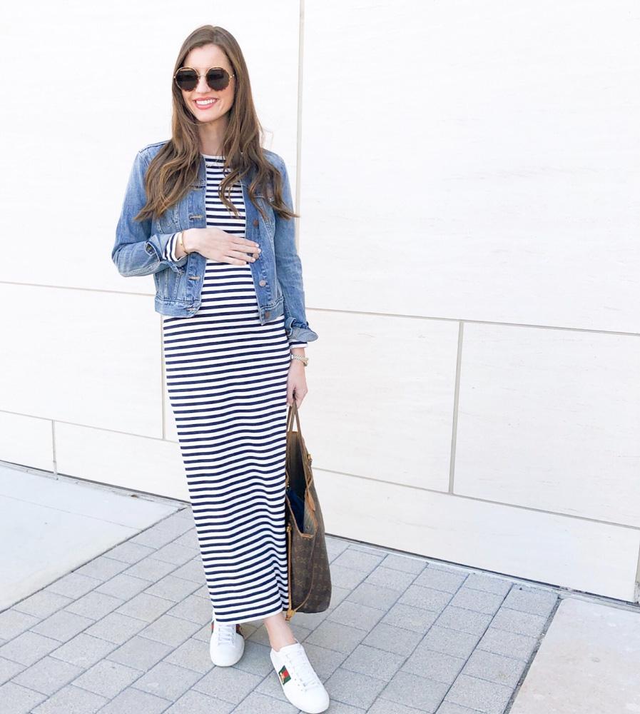 non-maternity striped maxi dress jean jacket