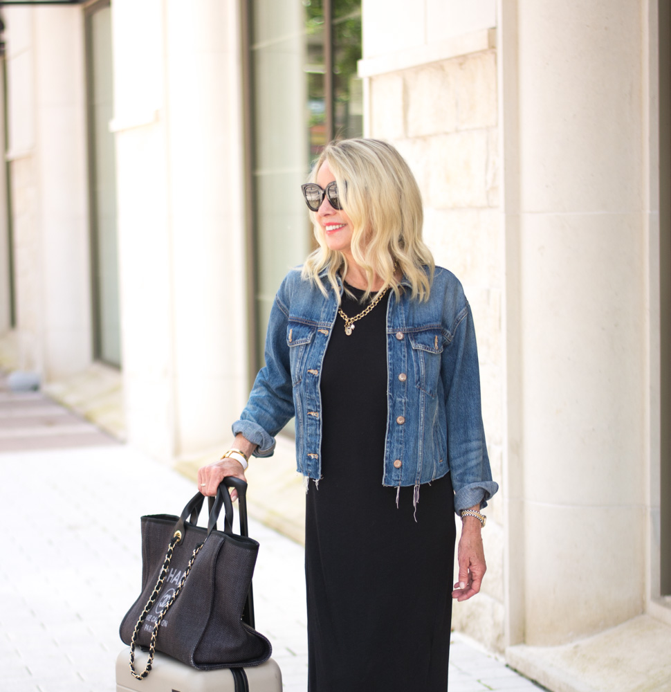 jean jacket black dress black tote bag