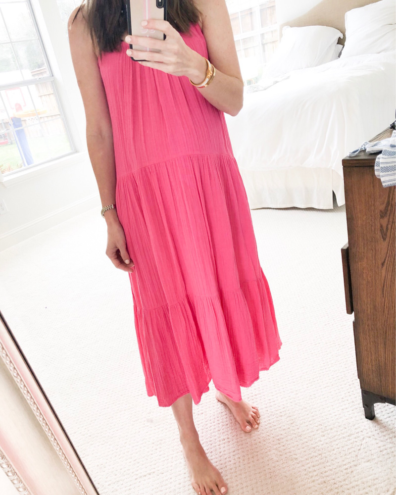 hot pink tiered maxi dress