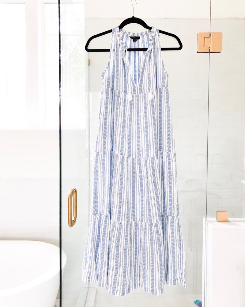 blue white striped tiered maxi dress