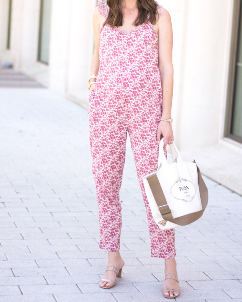 pink floral jumpsuit