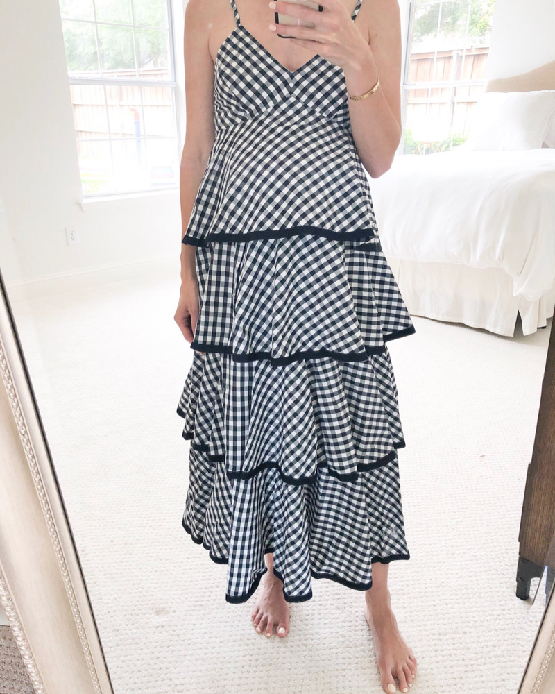 navy white gingham tiered maxi dress