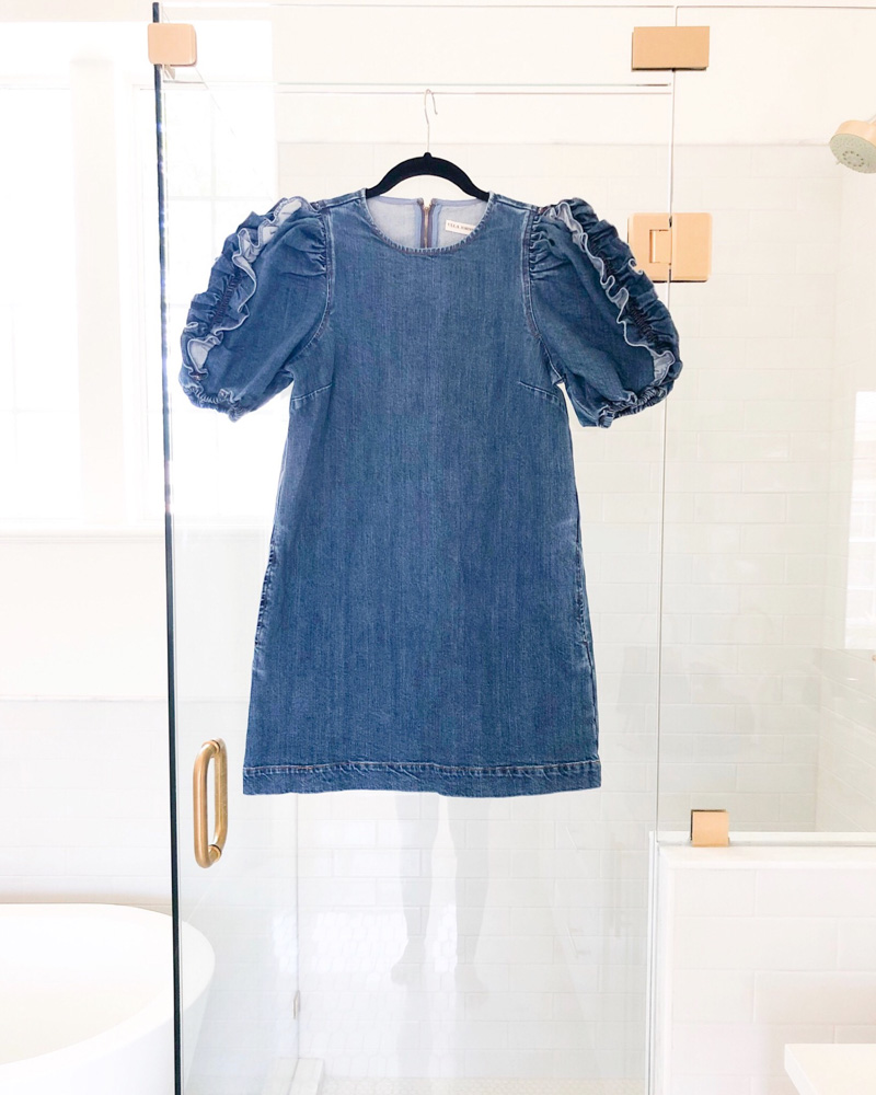 ruffle sleeve denim short dress