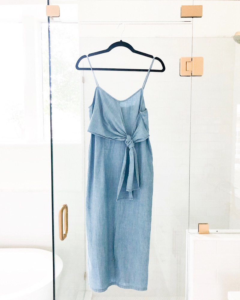 tie front denim midi dress