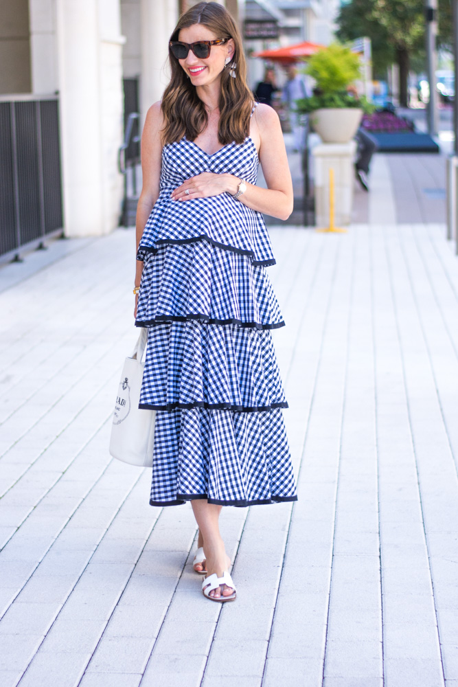 pregnant woman wearing gingham maxi