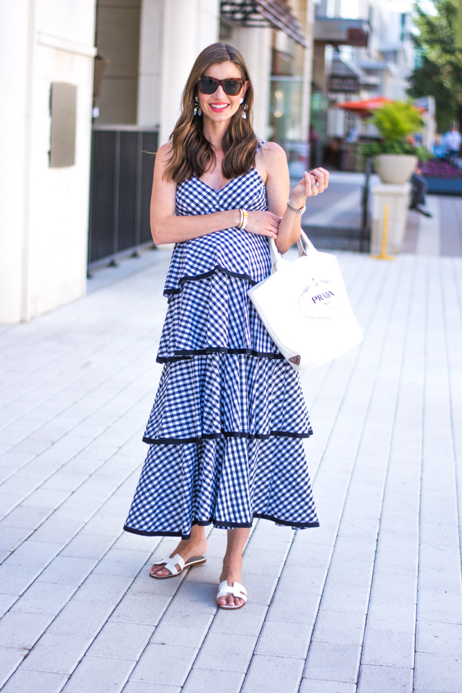 gingham maxi dress white tote bag