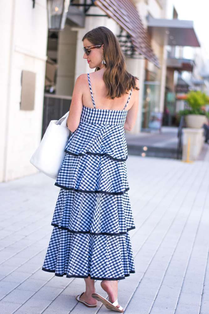 navy checked tiered maxi dress