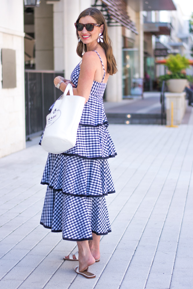gingham tiered maxi dress white tote bag