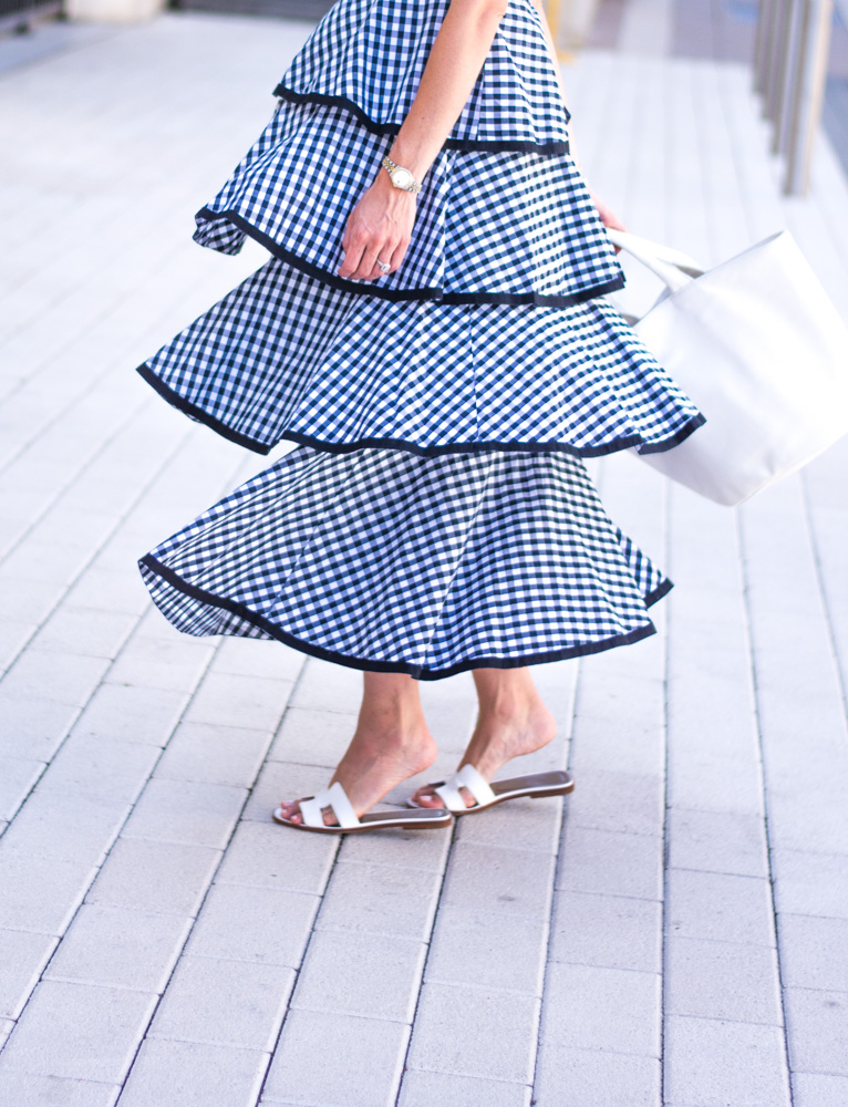 navy gingham tiered maxi dress
