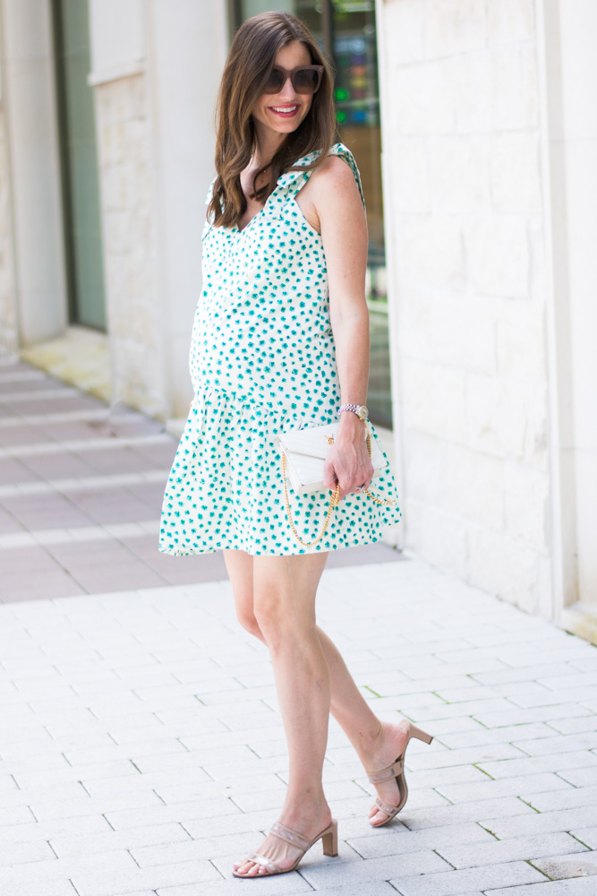 pregnant woman green white floral dress