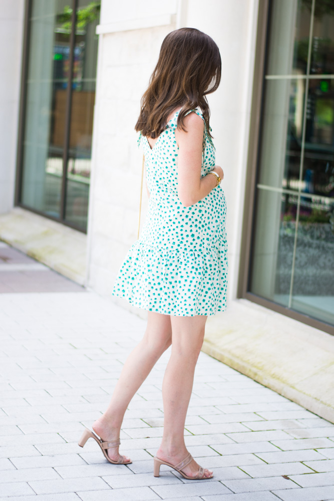 green white floral dress neutral sandals