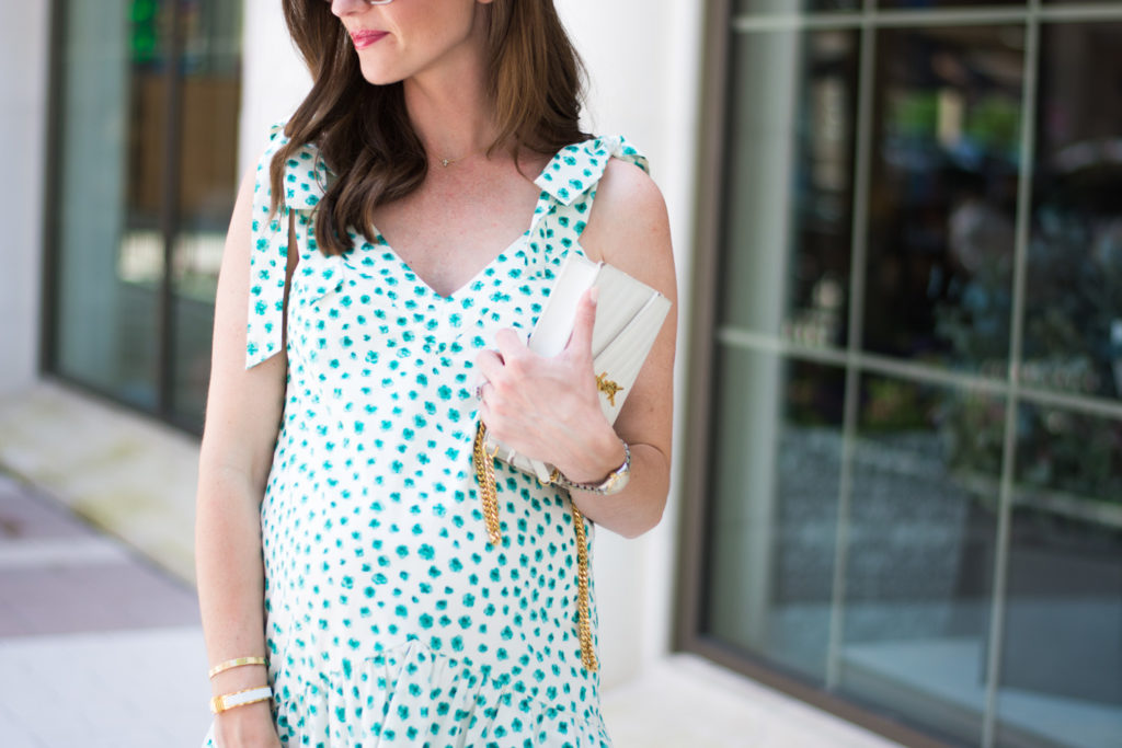 green white floral dress white clutch