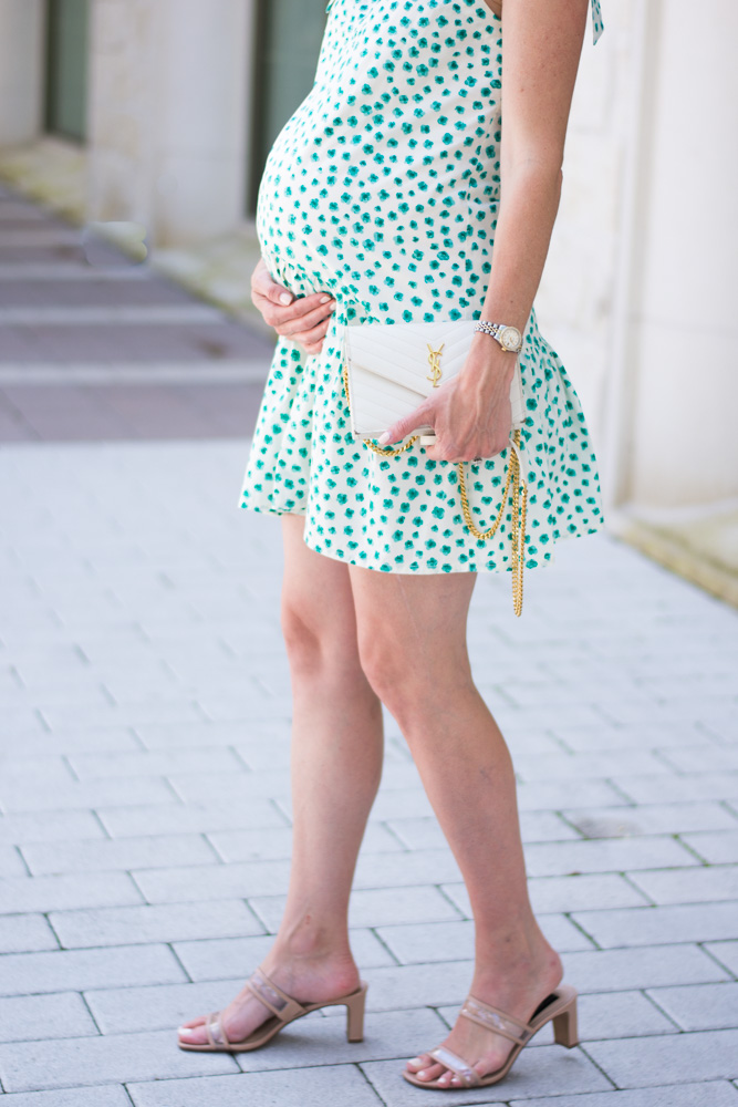 maternity dress green white floral nude sandals