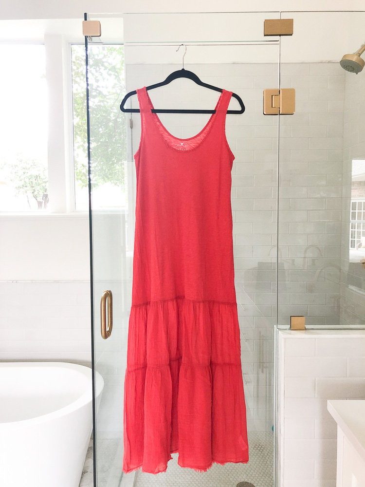 red tiered maxi dress