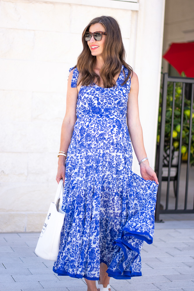 blue floral maxi dress with flowing hemline