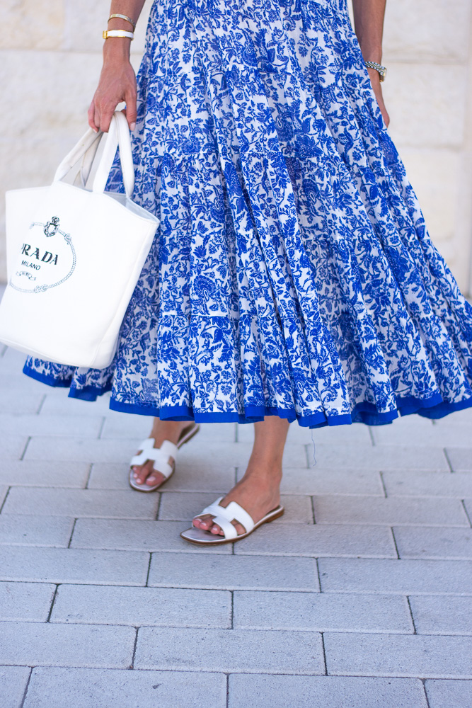 tiered blue floral maxi dress