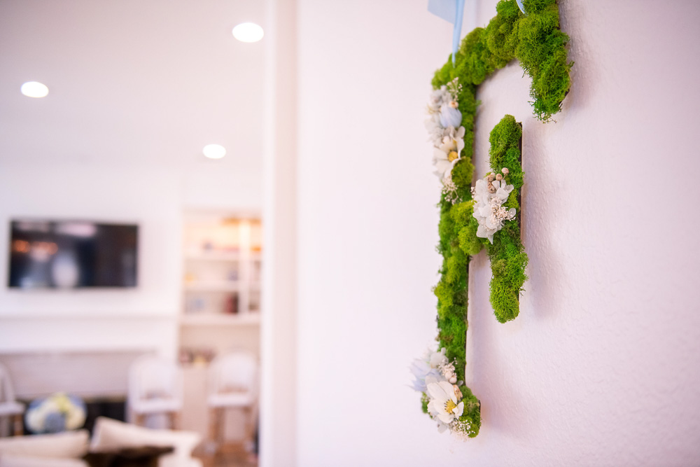 mossa and floral F wall hanging