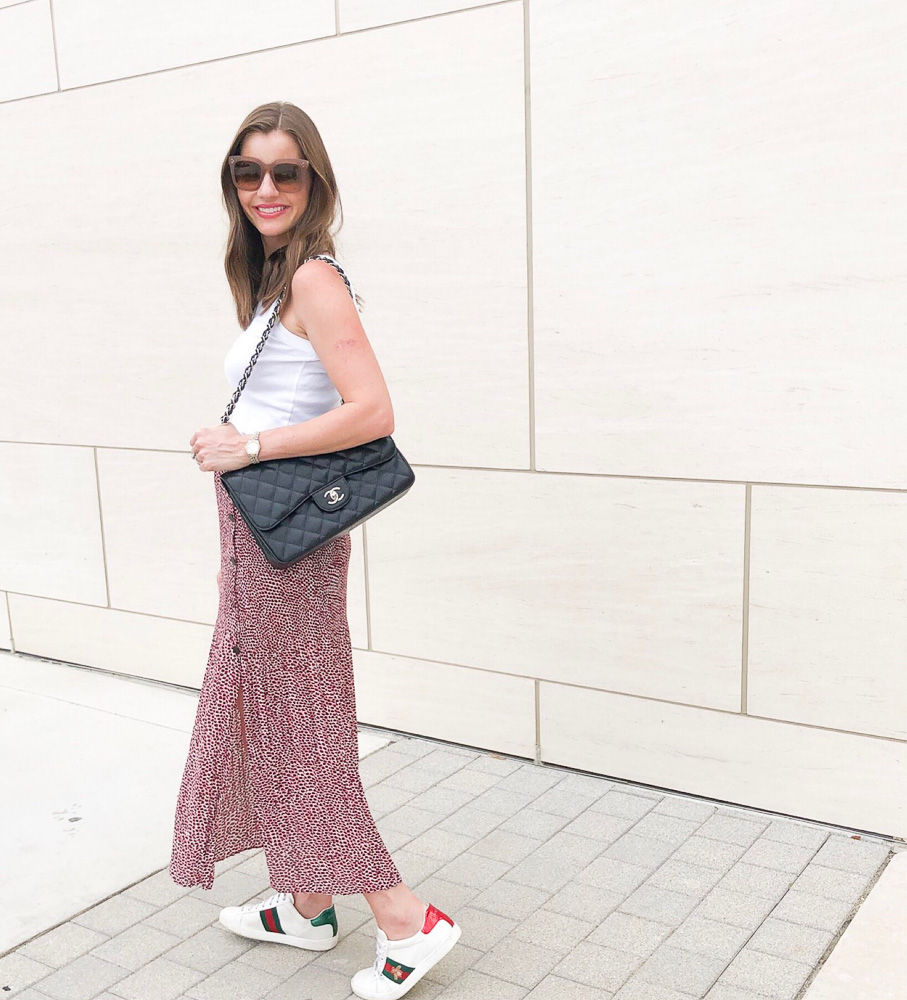 red print maxi skirt gucci sneakers black chanel bag
