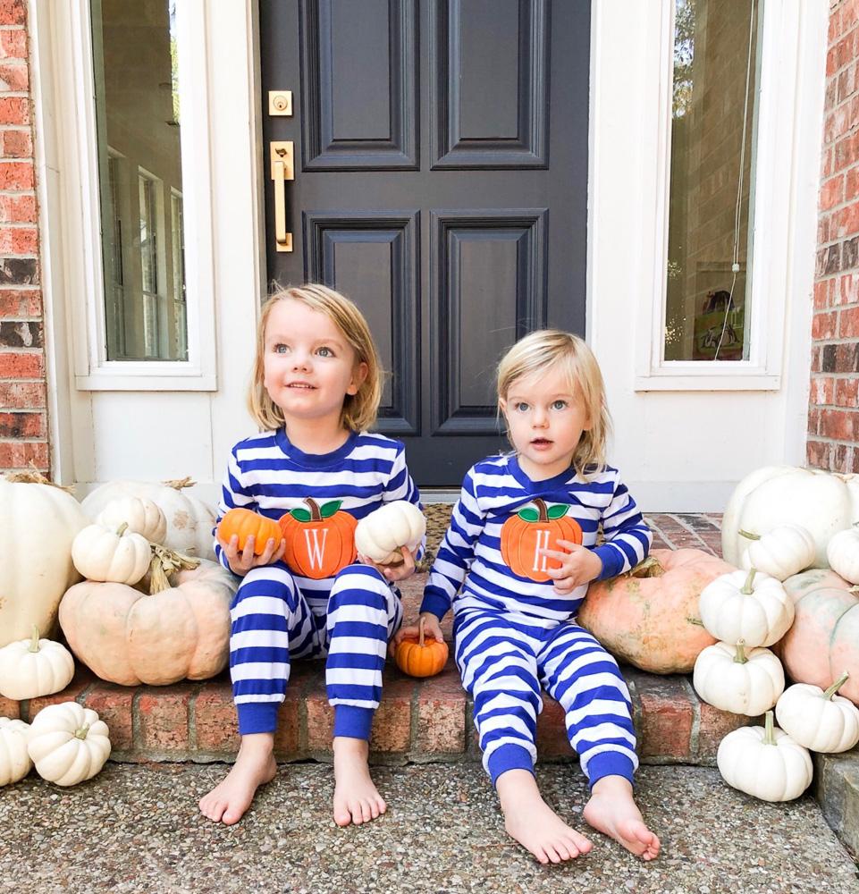 blue and white striped pumpkin applique pajamas for toddler boys
