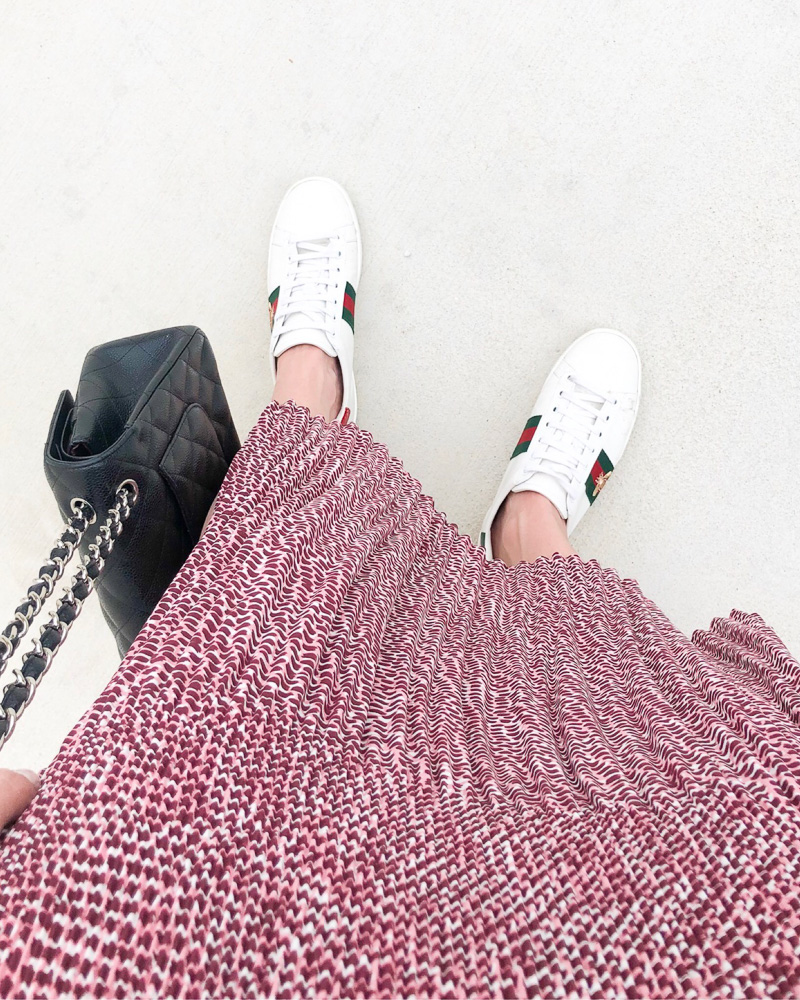 red printed maxi skirt guccis sneakers