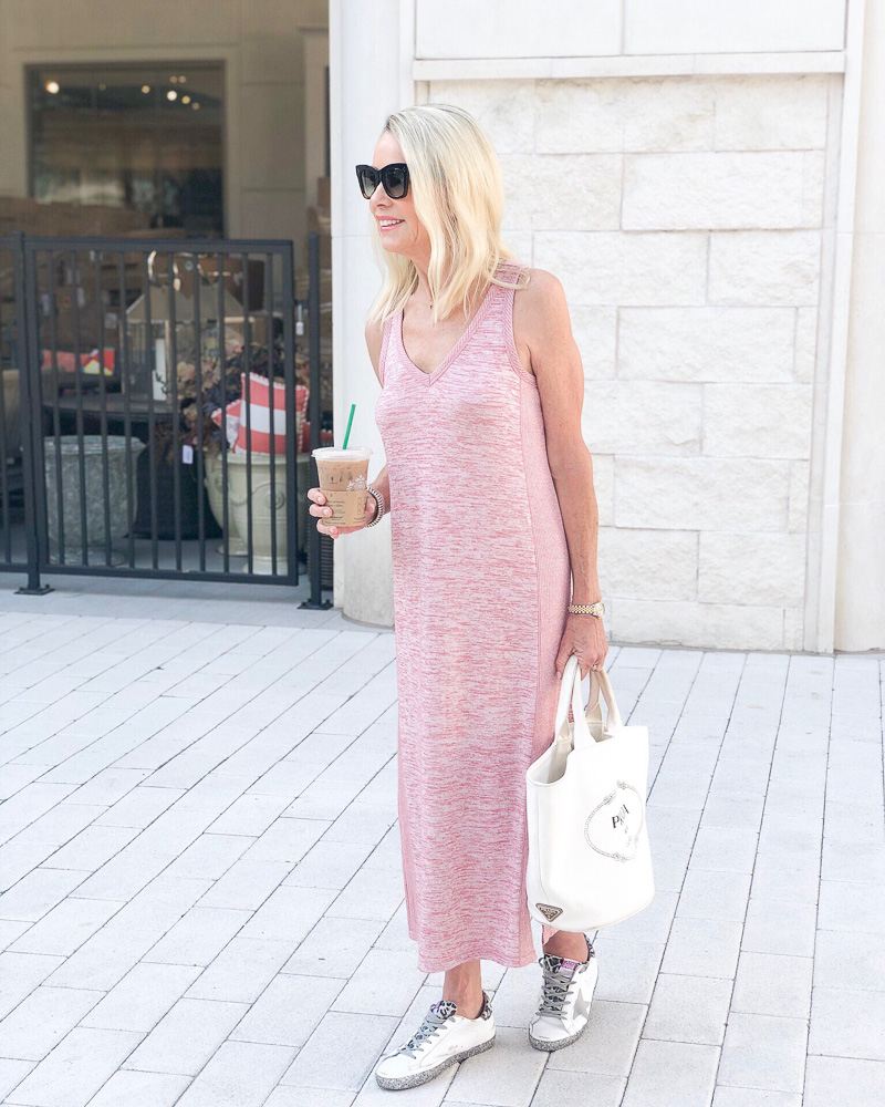 pink maxi dress white tote golden goose sneakers