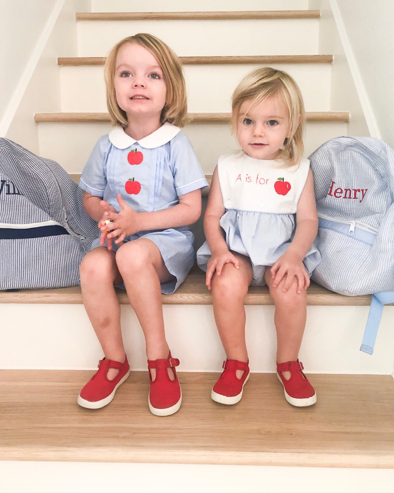 two toddler brothers on first day of preschool
