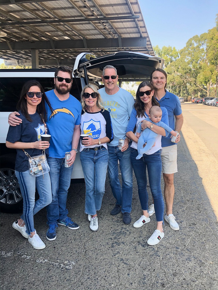 family tailgating at los angeles chargers football game