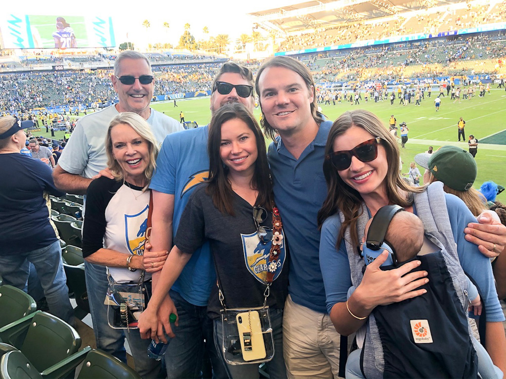 family at los angeles chargers football game