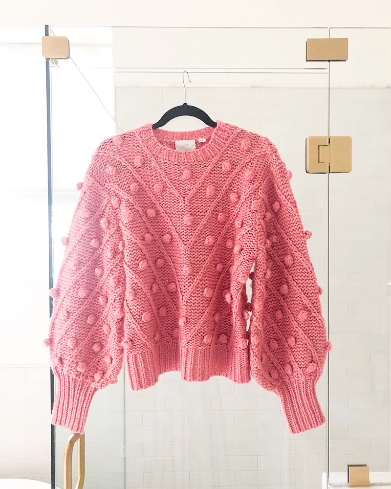 pink pom pom puff sleeve sweater