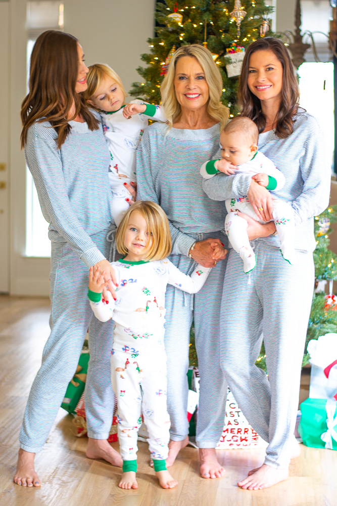 family in matching christmas pajamas