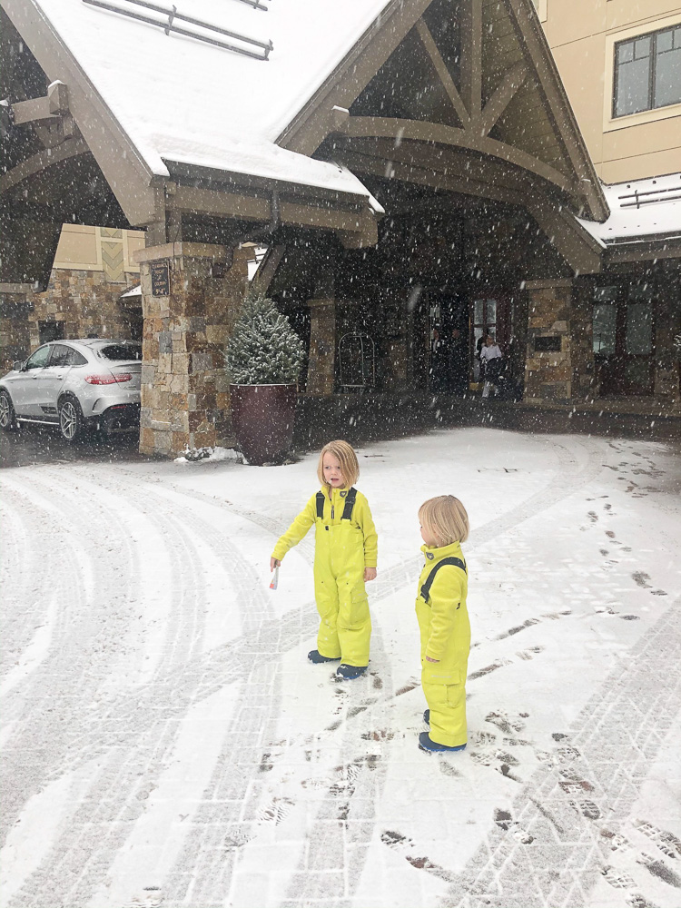 toddler boys in the snow
