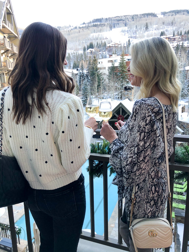 two women on the veranda at four seasons vail