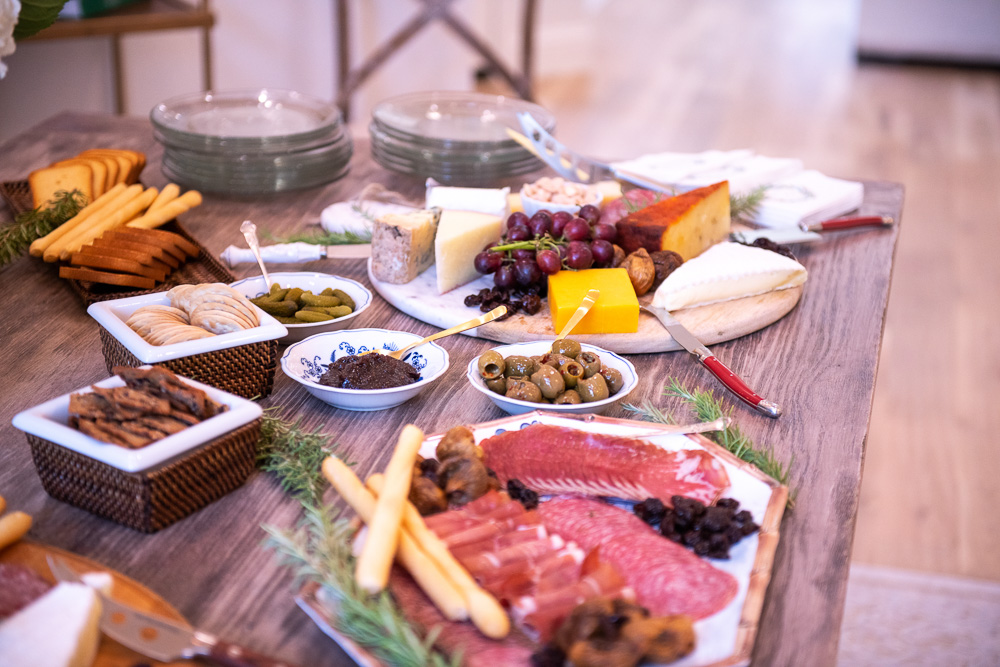 dining table set up with charcuterie boards