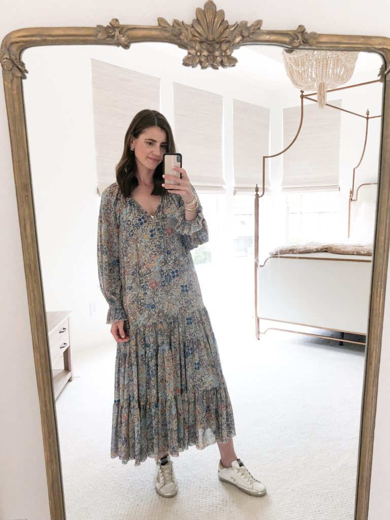 floral maxi dress in mirror