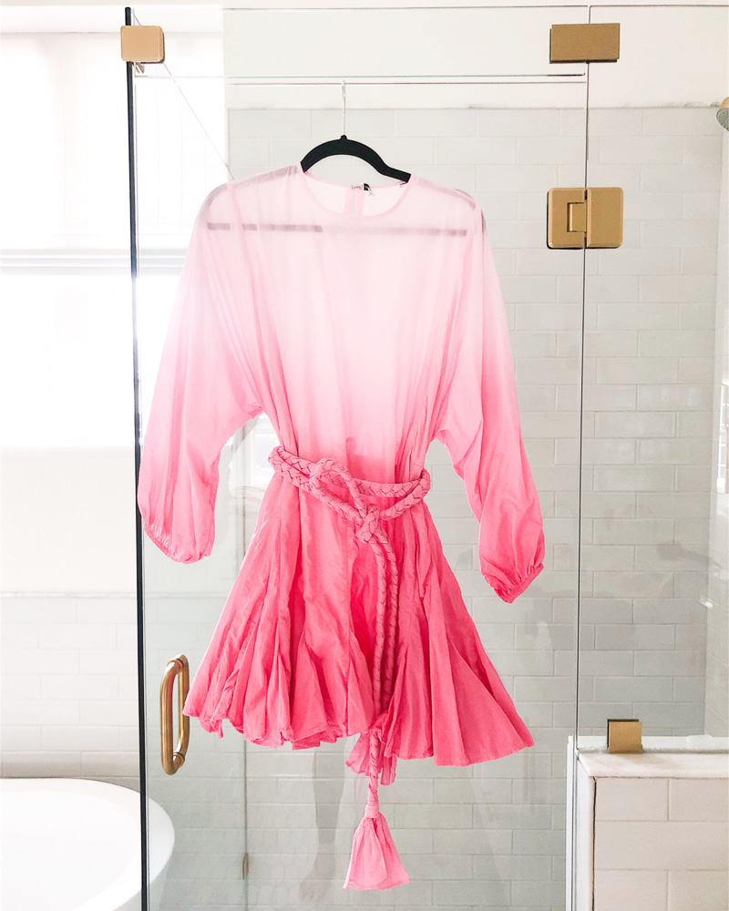 pink ombre dress hanging