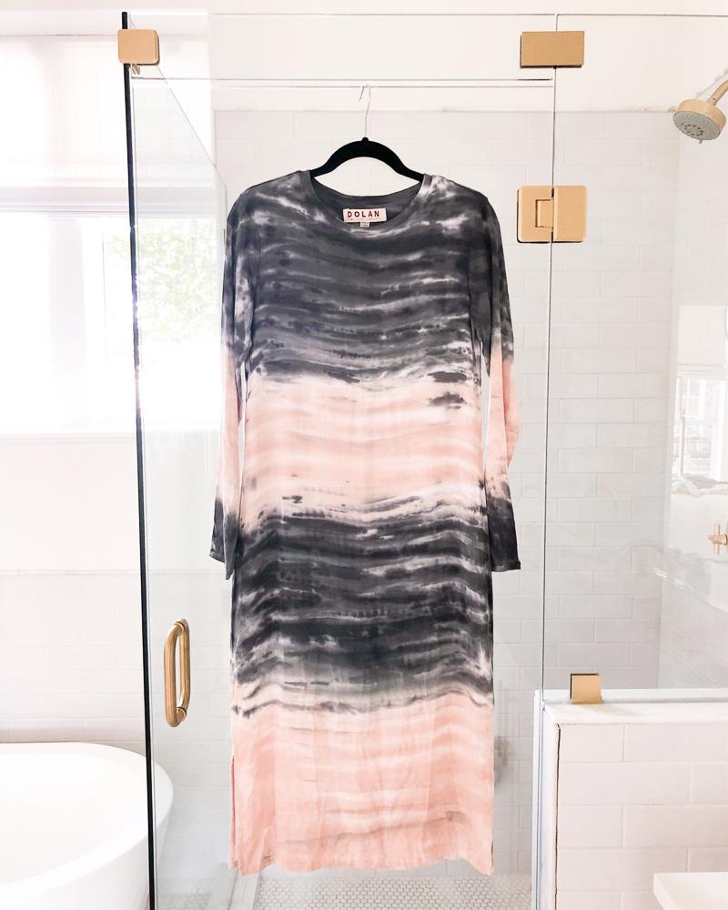 tie dye maxi dress hanging