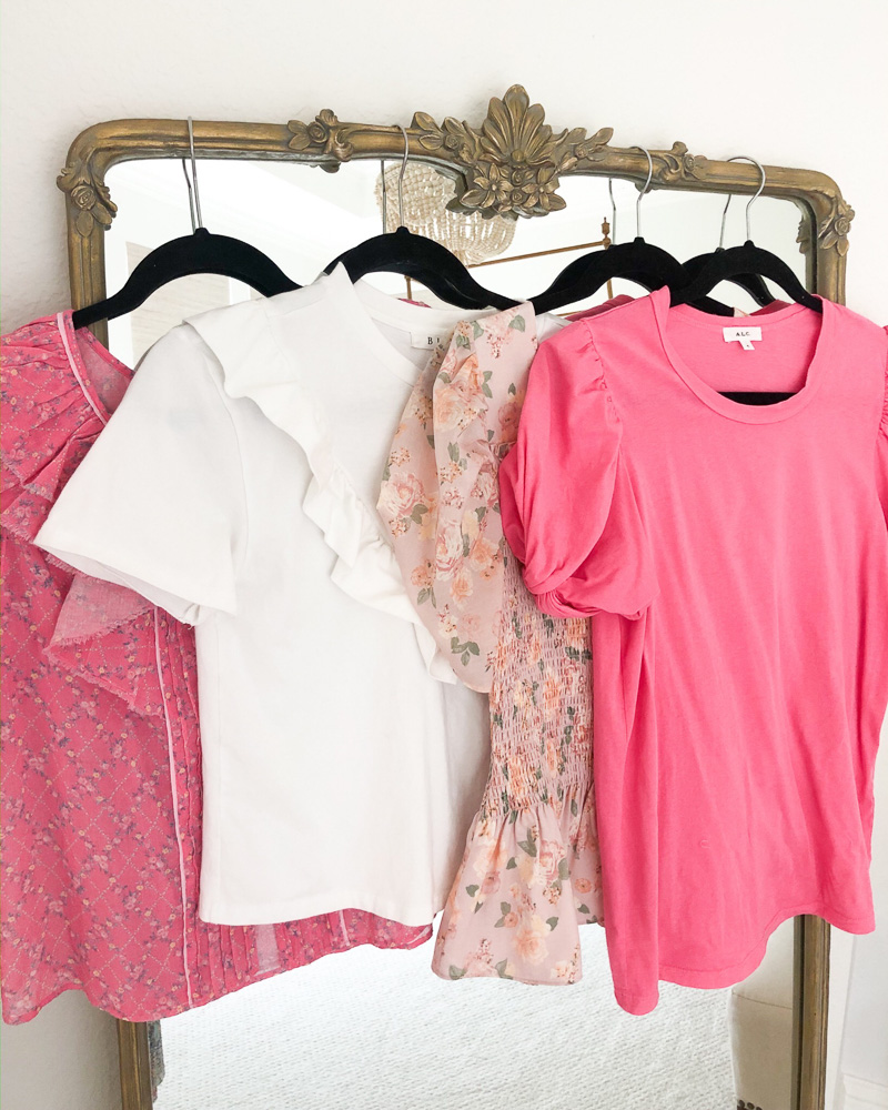 four pink and white puff sleeve tops