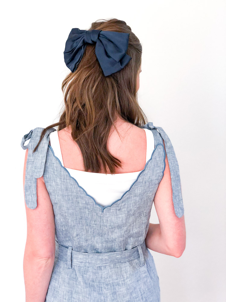 oversized navy blue hair bow chambray romper