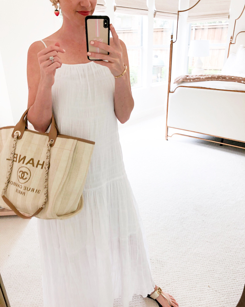 white maxi dress chanel tote bag