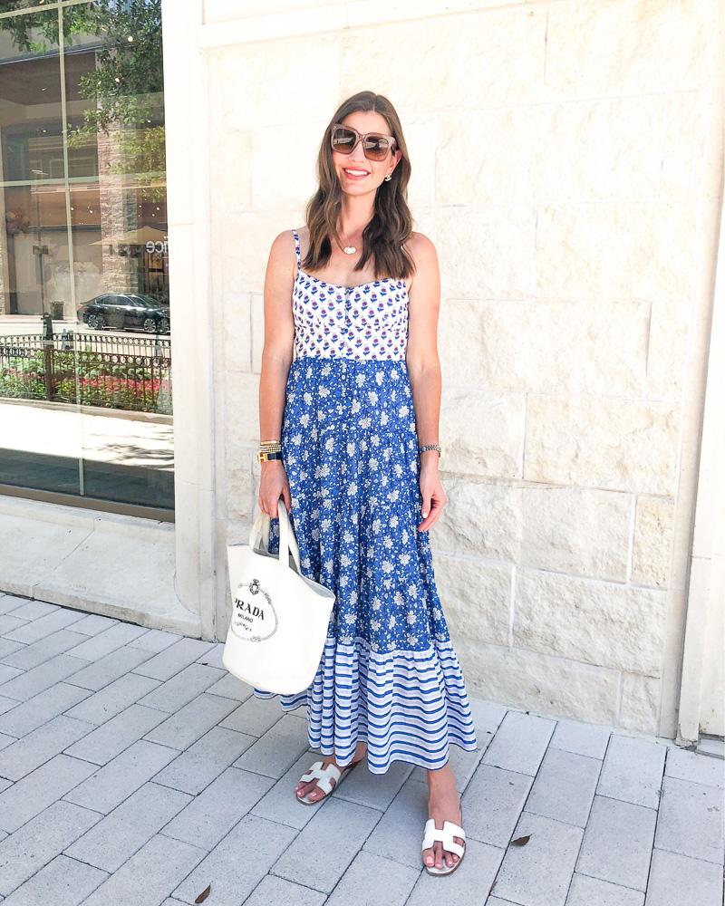 woman wearing multi-pattern maxi dress