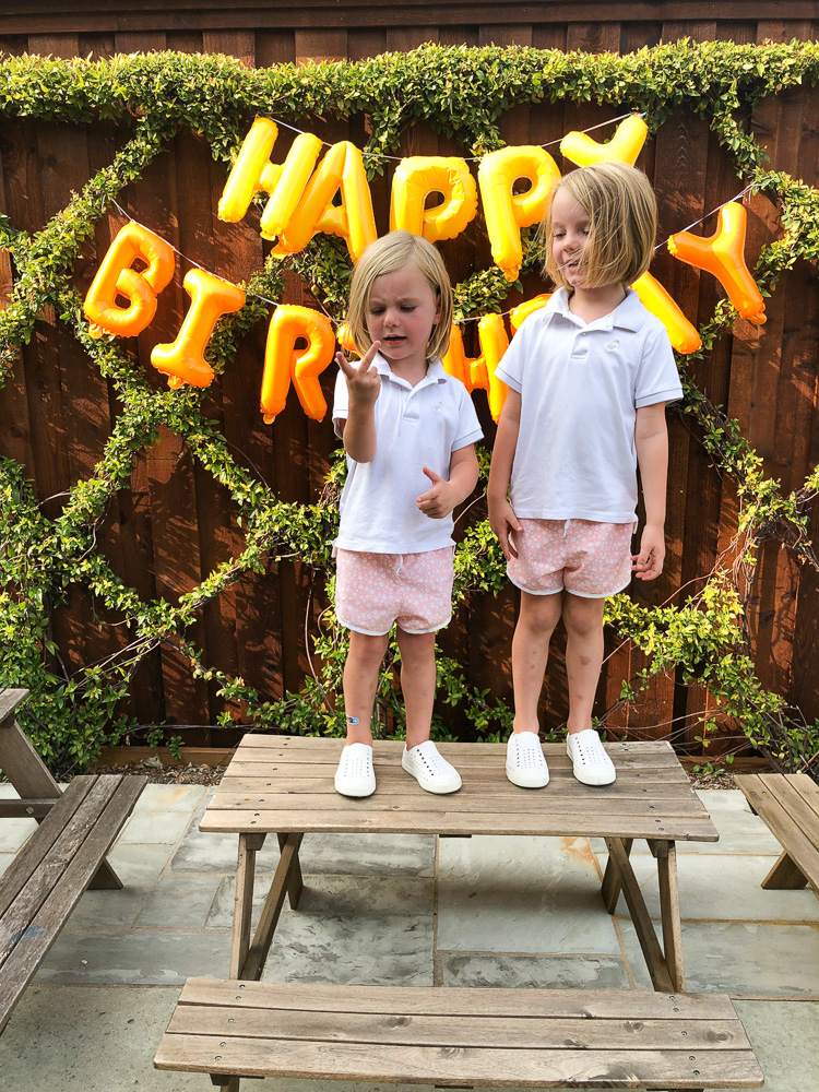 two toddler boys standing on picnic table with happy birthday sign
