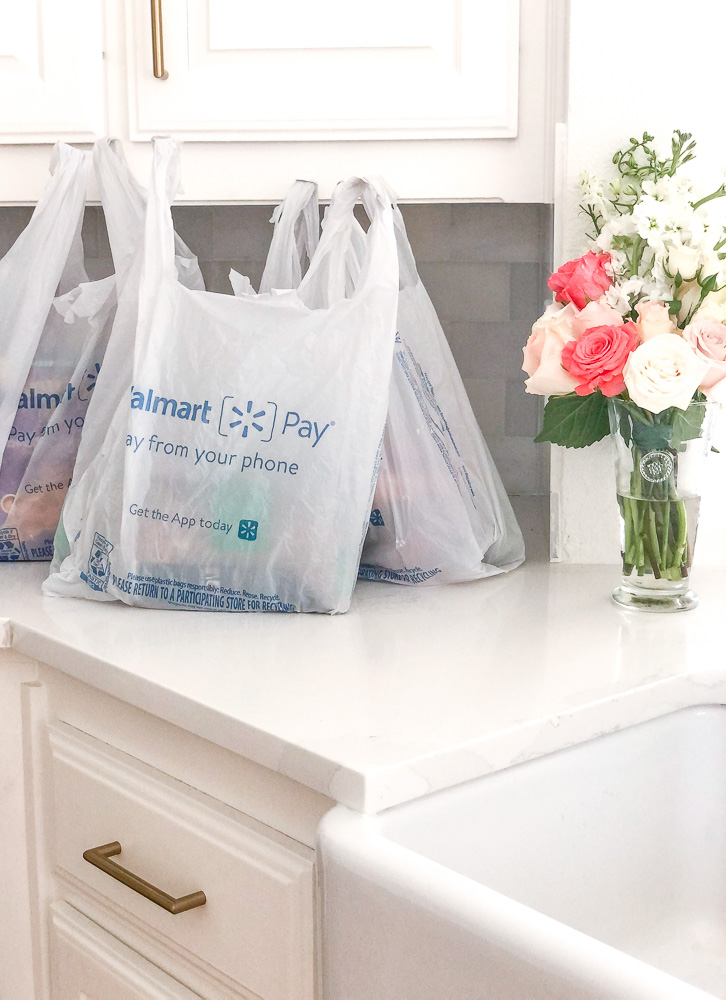 grocery bags on kitchen counter