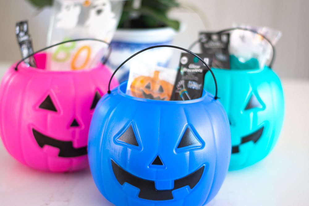 pink blue and teal pumpkin pails