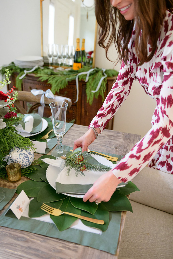 woman setting the holiday table