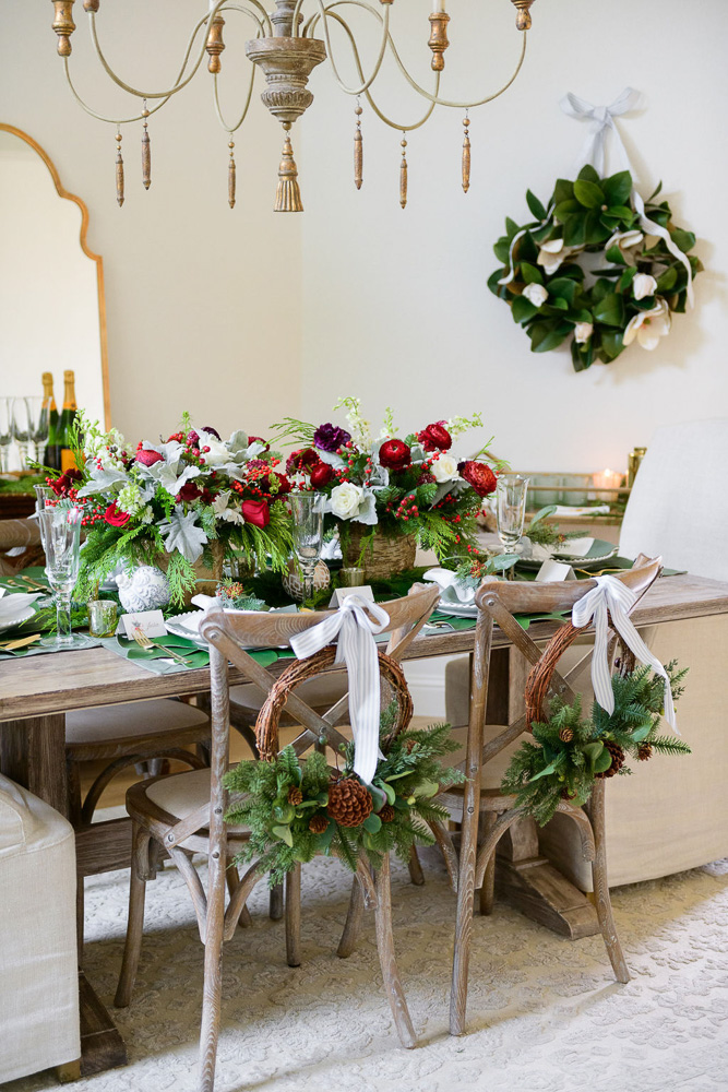 dining table decorated for Christmas holidays