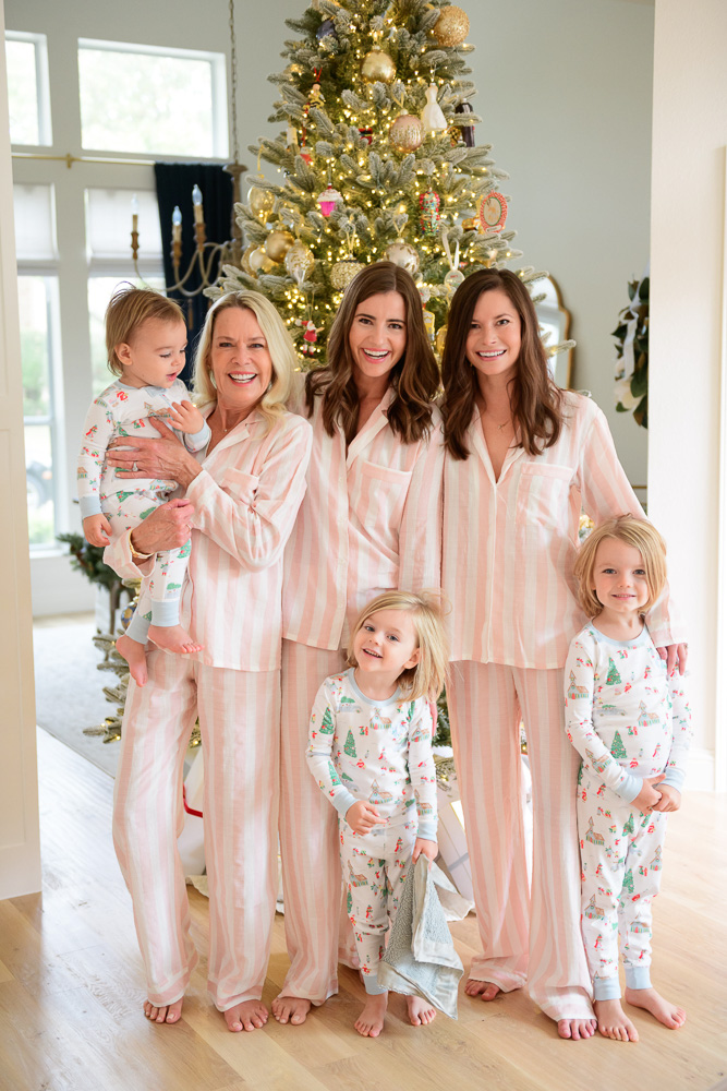 family group in matching christmas pajamas